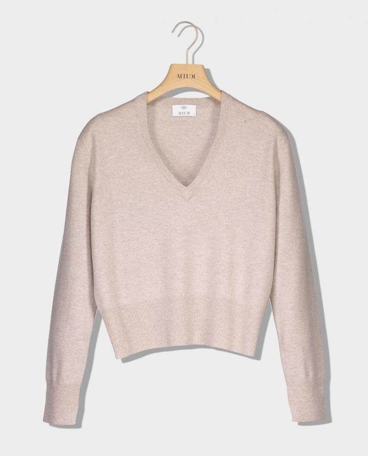 Allude cashmere V sweater Beige 48