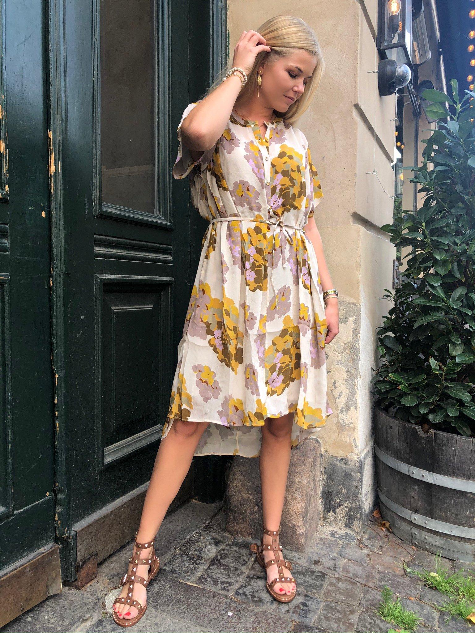 Rabens Saloner Multi Flower Dress -  Ivory