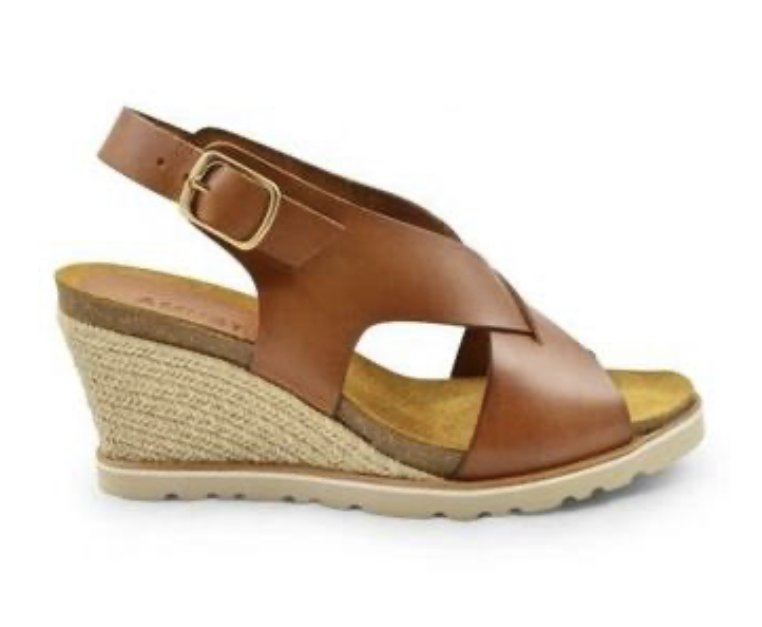 Amust Lea High Wedge Sandal Light Tan AM 1262
