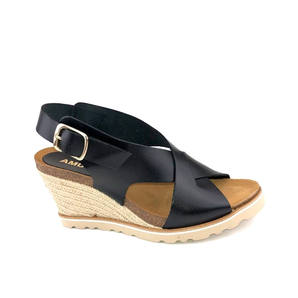 Amust Lea High Wedge Sandal Black AM1262