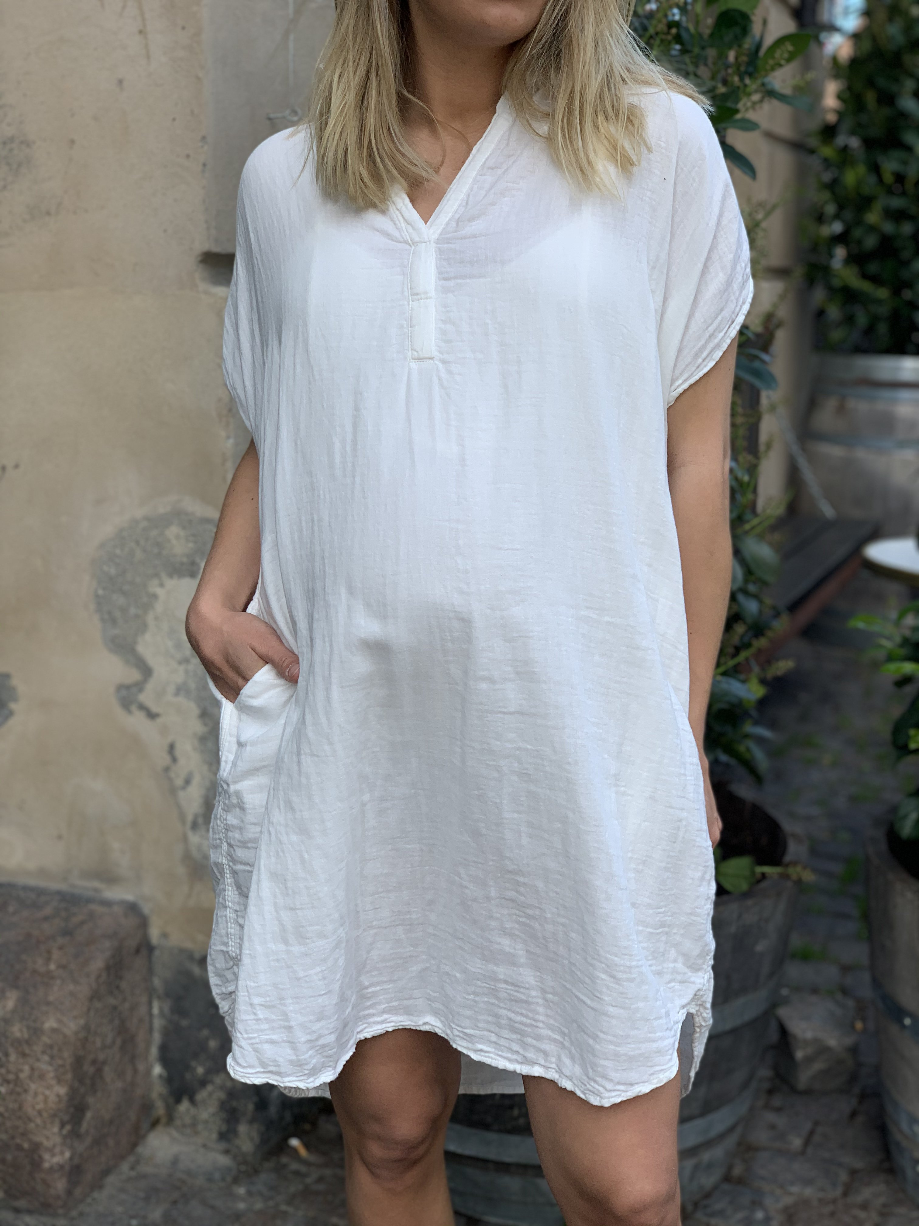 Rabens Saloner Cotton Shirt Dress - White