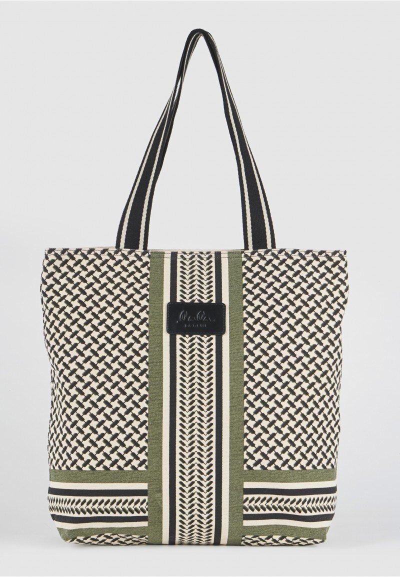 Lala Berlin Tote Carmela Colored Bag - Kufiya Off-White/Black/Olive
