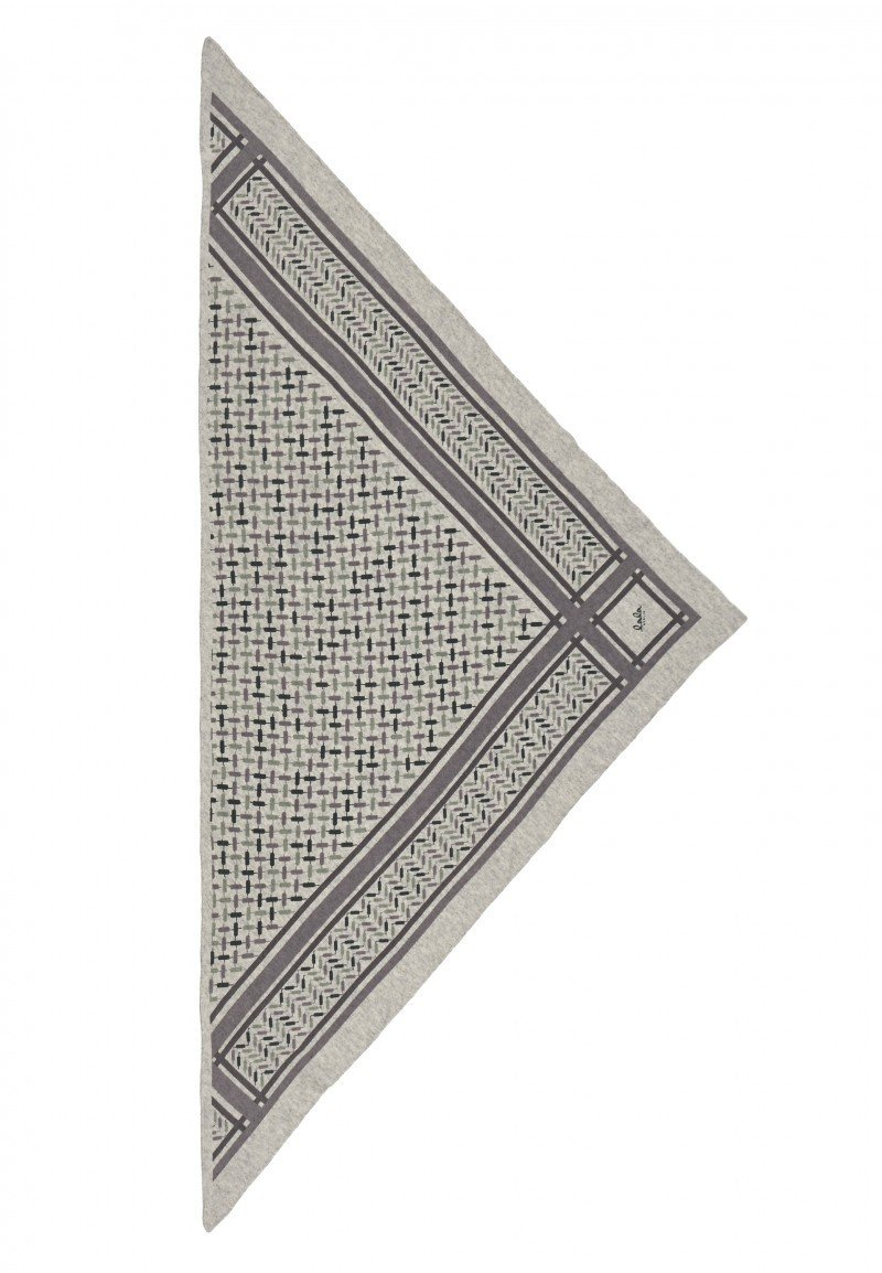 Lala Berlin Triangle Trinity Confetti Scarf - Frost Grey on Flanella
