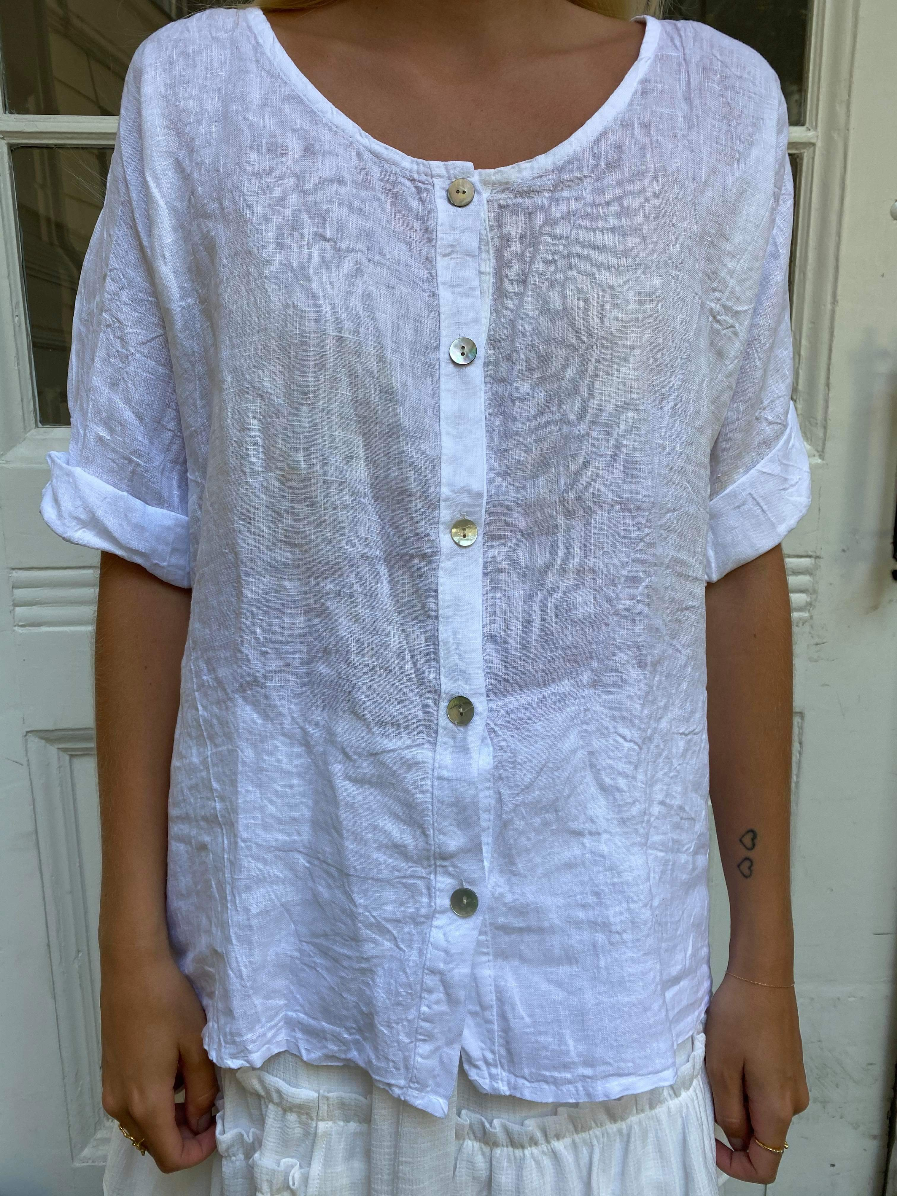 Cabana Living Button Blouse 1497 - White