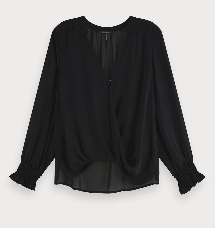 Maison Scotch Wrap-over top with smocked cuff Black