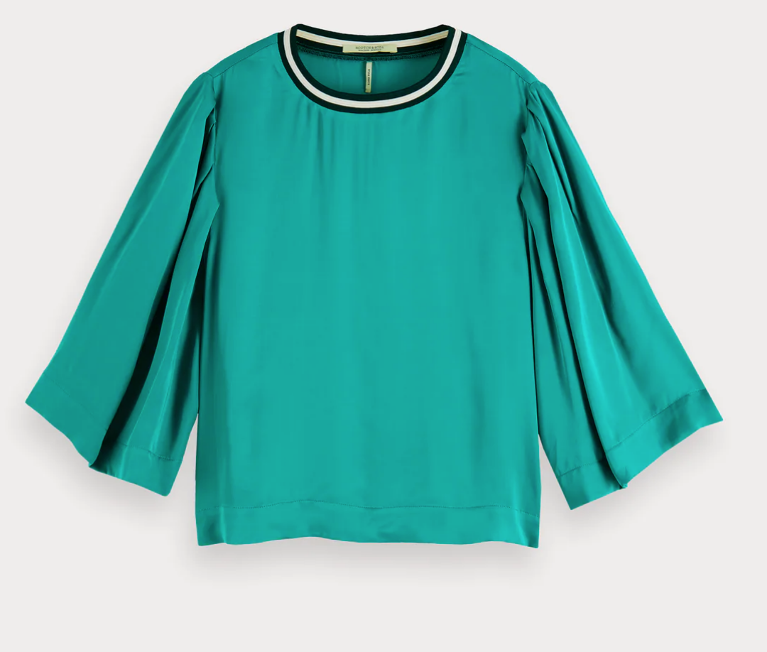 Maison Scotch Printed Top With Neck Rib in Viscose - Green 155932