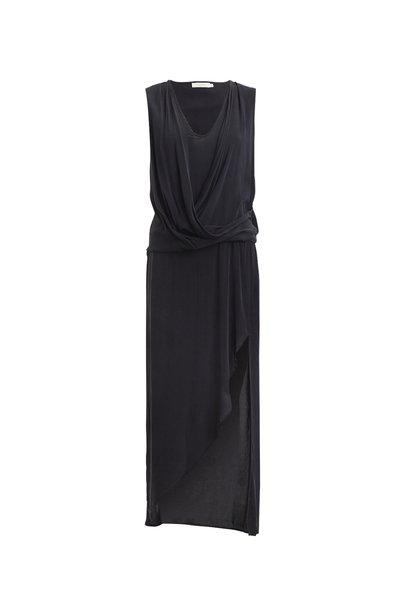Rabens Saloner Woven drape Long Dress Black
