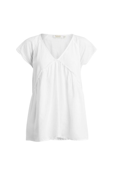 Rabens Saloner Cotton Simple Gather Top - White