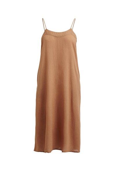 Rabens Saloner Cotton Low Back Dress -Nutmeg