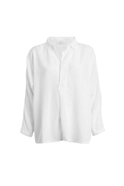 Rabens Saloner Cotton placket Shirt White
