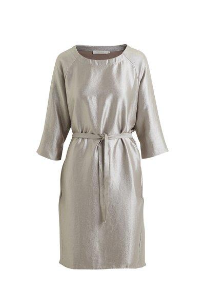 Rabens Saloner Hammered Metal Tee Dress - Silver