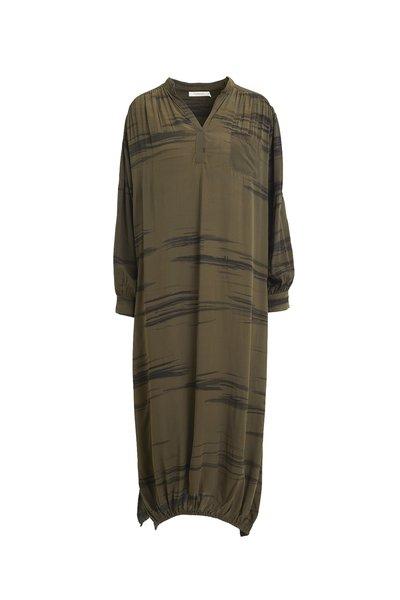 Rabens Saloner Wild Stripe Scarf Dress - Olive